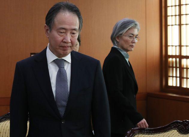 강경화 외교부 장관과 도미타 고지