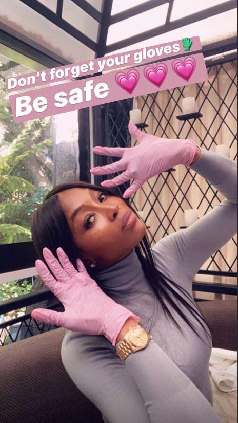 Contre le coronavirus, les gants de Naomi Campbell ne sont pas