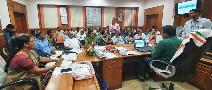KK Shailaja at a meeting of government and health officials at the Thrissur Collectorate after India's first coronavirus patient was reported in Kerala on January 30, 2020.