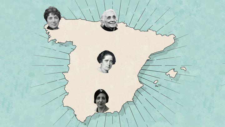 Mapa de destinos natales de mujeres históricas de España. Rosalía de Castro (Padrón, A Coruña), Dolores Ibárruri 'La Pasionaria' (Gallarta, Bizkaia), Clara Campoamor (Madrid) y María Zambrano (Vélez Málaga, Málaga).