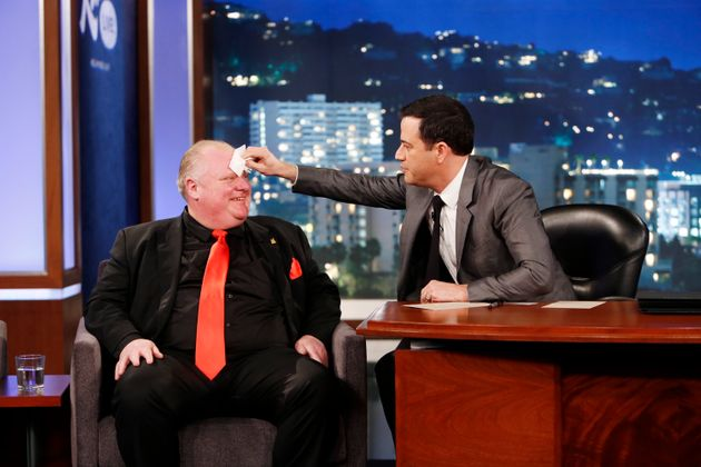Rob Ford gets his face dabbed by Jimmy Kimmel on March 3,