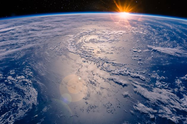 High altitude view of the Earth in space. Elements of this image furnished by