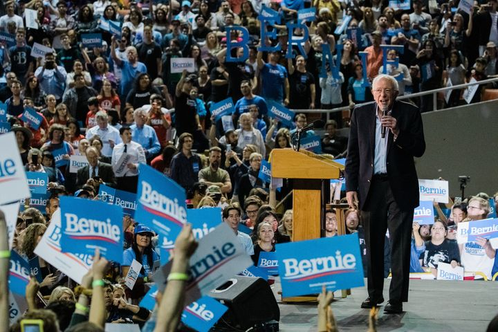 Democratic Presidential Candidate Sen. Bernie Sanders (I-Vt.) speaks at a campaign rally on March 5, 2020, in Phoenix, Arizon
