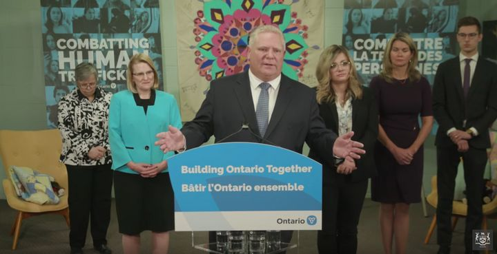 Ontario Premier Doug Ford speaks to reporters in St. Catharines, Ont. on March 6, 2020.