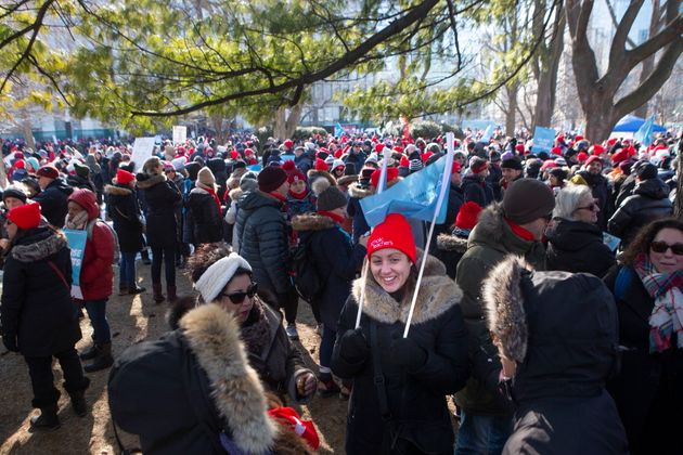 Protesters join a demonstration organized by Ontario's teacher's unions outside the Ontario legislature...