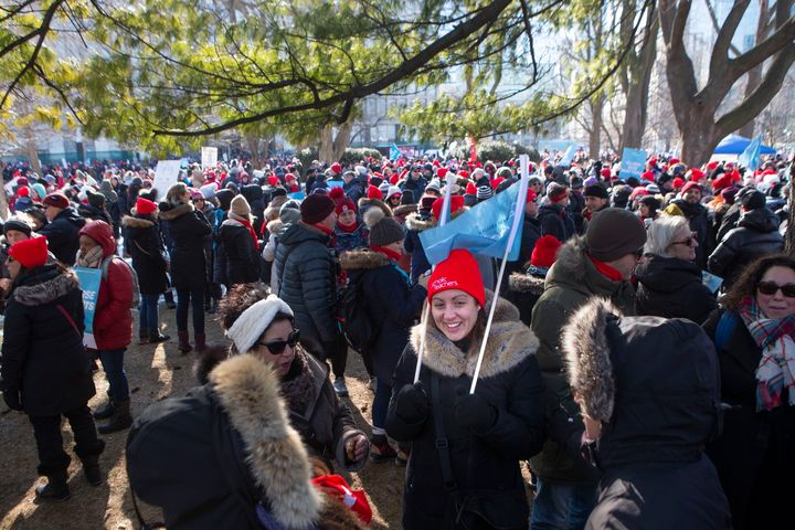 Protesters join a demonstration organized by Ontario's teacher's unions outside the Ontario legislature in Toronto on Feb. 21, 2020.