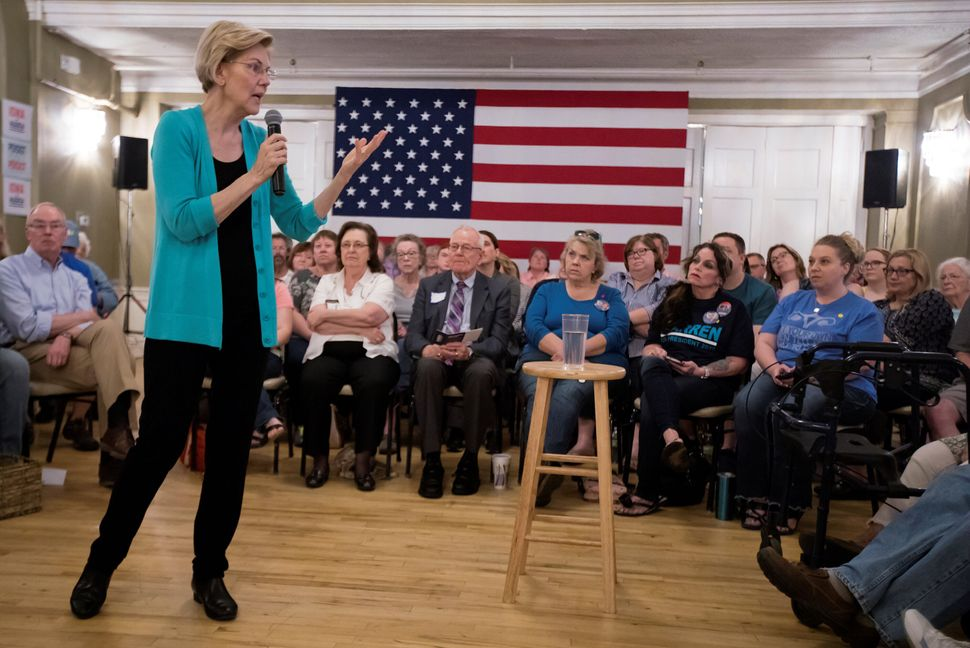 Massachusetts Sen. Elizabeth Warren speaks at a town hall in Ottumwa, Iowa. It was the most explicit Warren ever got regardin