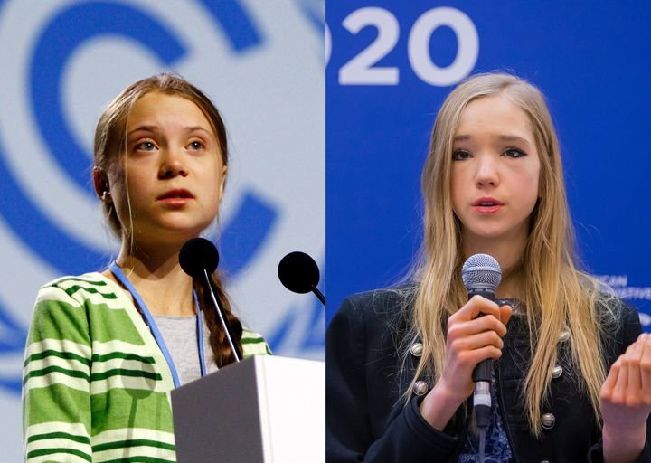 Greta Thunberg (left) and Naomi Seibt (right).