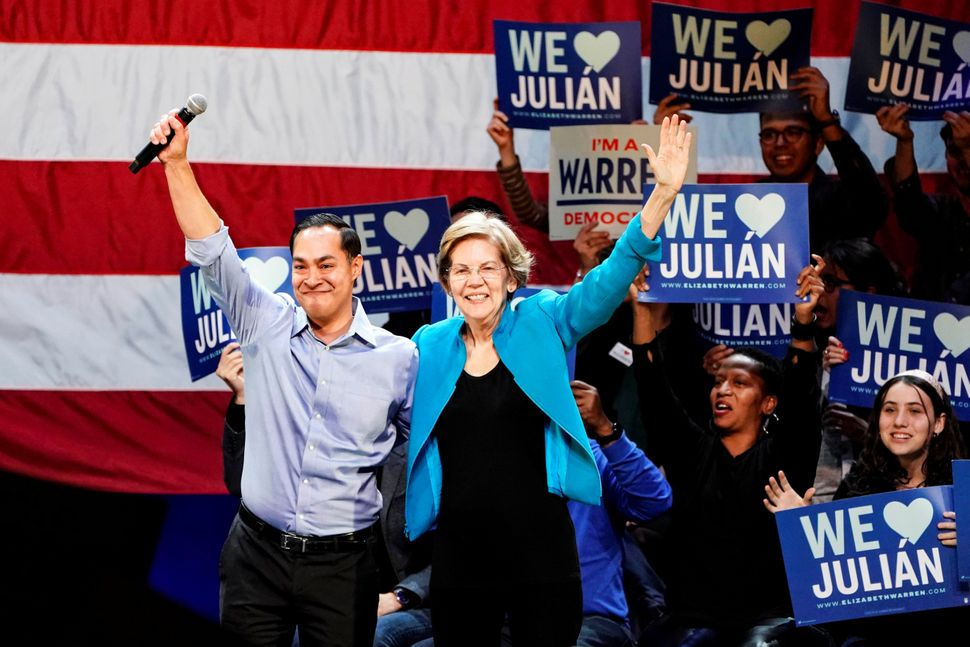 "Former presidential candidate Julián Castro's endorsement of Warren set off the campaign's ""unity ca"