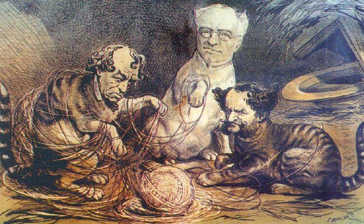 Η Ρωσία, η Αγγλία και η Αυστρία ασχολούνται με το Ανατολικό Ζήτημα, γελοιογραφία του