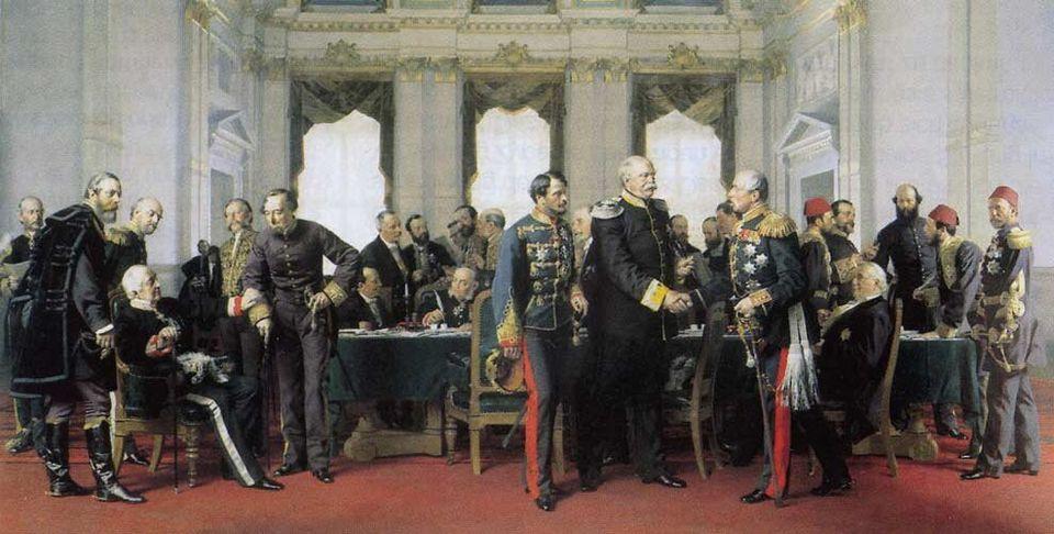 Η πρώτη συνάντηση των πληρεξούσιων των διαφόρων χωρών στο συνέδριο του Βερολίνου. Πίνακας του Άντον φον...