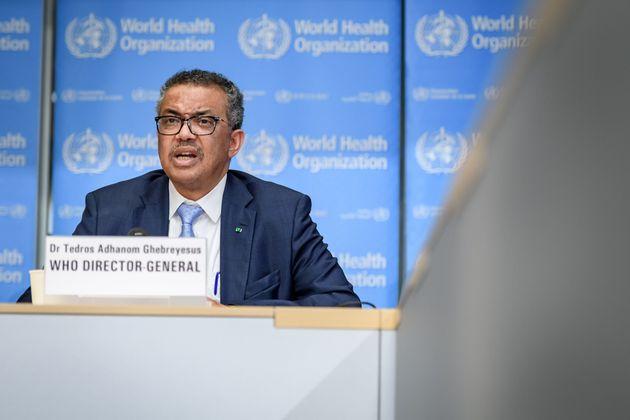 테드로스 아드하놈 게브레예수스 세계보건기구(WHO) 사무총장이 코로나19(신종 코로나바이러스) 관련 일일 브리핑을 하고 있다. 제네바, 스위스. 2020년