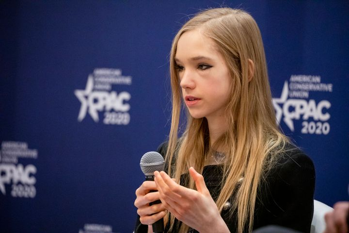 Naomi Seibt, a 19-year-old climate change skeptic and self-proclaimed climate realist, speaks during a workshop last week at