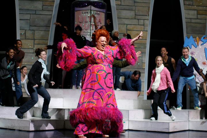 "Harvey Fierstein as Edna Turnblad in the musical adaptation of ""Hairspray."""