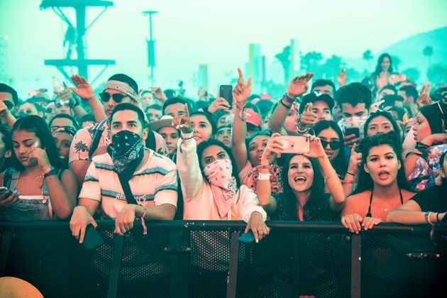 Festivalgoers at the 2019 Coachella Valley Music and Arts Festival in Indio,