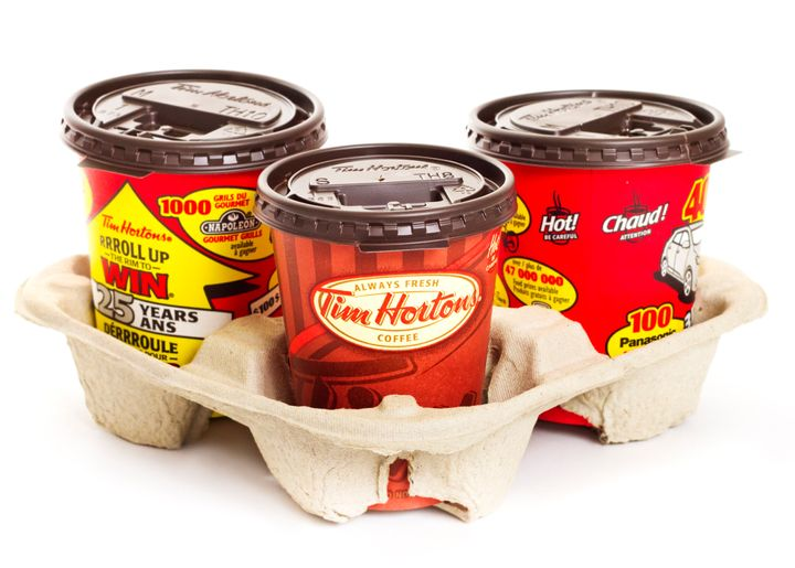 Tim Hortons paper cups featuring the Roll Up The Rim contest.