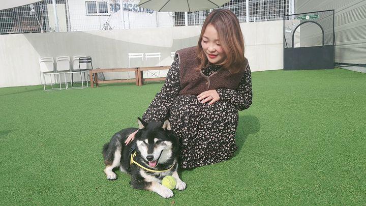 지난 2월 25일 경기도 일산의 반려견 동반 카페에서 만난 조은아씨와 빠방이. 빠방이가 좋아하는 공놀이를 하고 있는 모습.