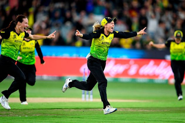 Australia's captain Meg Lanning (C) celebrates with teammates after a victory against India in the Twenty20...