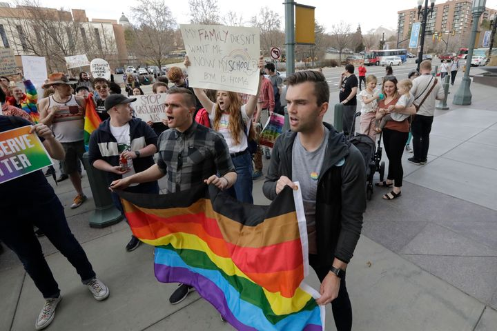 Several hundred Brigham Young University students protested Friday to show their displeasure with a letter this week that cla