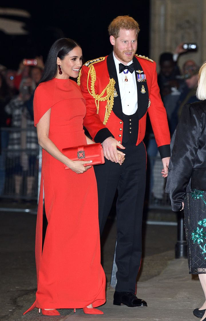 Harry and Meghan at the Mountbatten Festival of Music at Royal Albert Hall in London on Saturday.