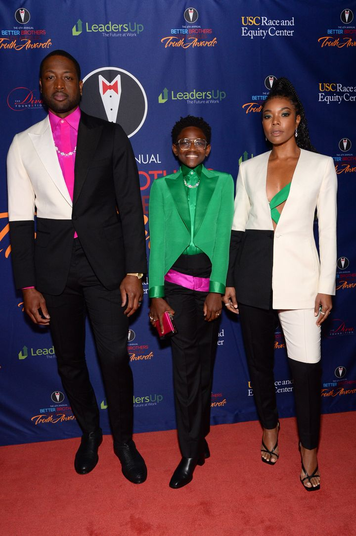 Dwyane Wade, Zaya Wade and Gabrielle Union attend the Better Brothers Los Angeles 6th annual Truth Awards in Los Angeles, Cal