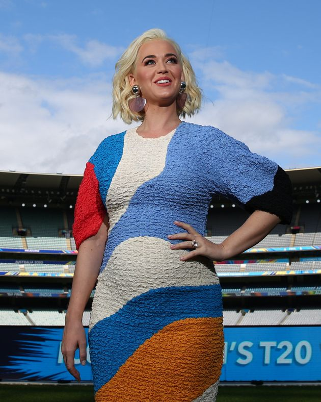 Katy Perry poses during the 2020 ICC Women's T20 World Cup Media Opportunity at Melbourne Cricket Ground on March 07, 2020 in Melbourne, Australia.