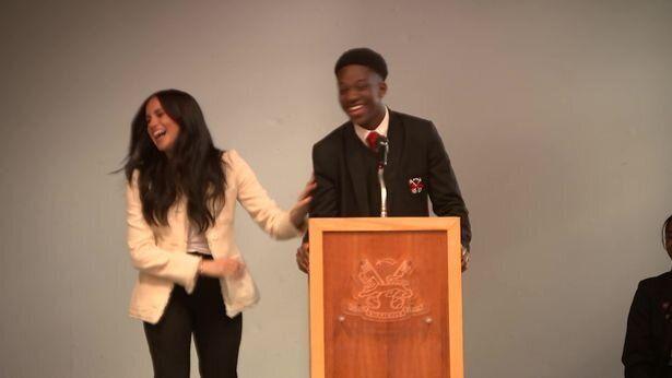 Meghan Markle, durante su visita al colegio Robert Clack en Essex el 6 de marzo de