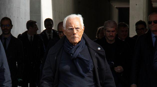 Fashion Designer Giorgio Armani at Milan Fashion Week. Milan (Italy), February 21st, 2020 (Photo by Marco...