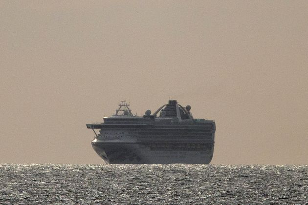 The Grand Princess cruise ship floats Sunday off the coast of Pacifica,