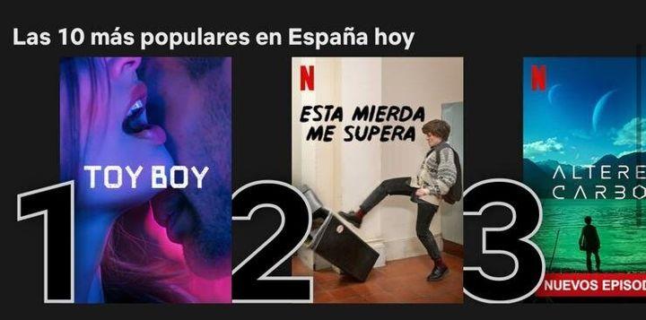 'Toy Boy' encabeza las ficciones de Netflix en España.