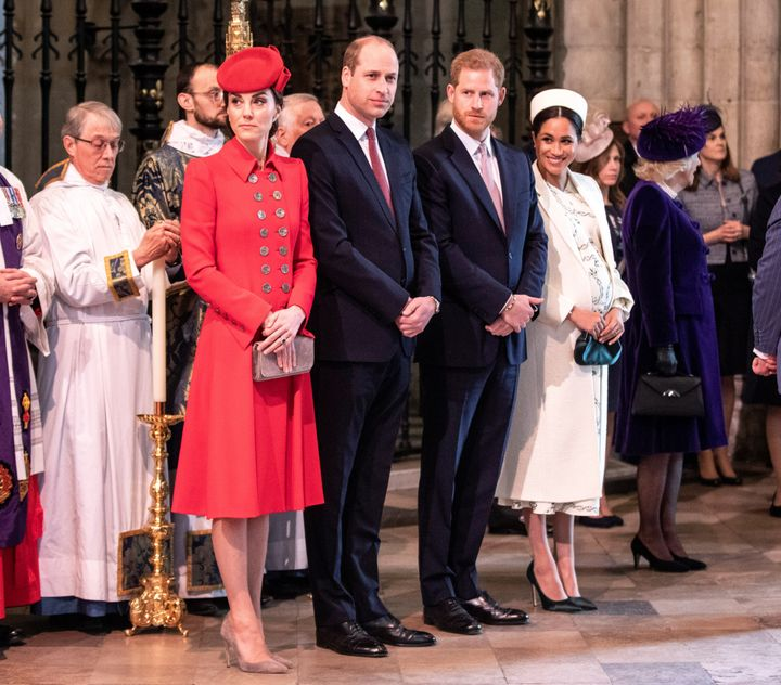 Prince Harry and Meghan, Duchess of Sussex, stand with Catherine, Duchess of Cambridge, and Prince William at Westminster Abb