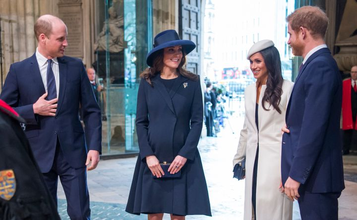 The Duke and Duchess of Cambridge, then-actress Meghan Markle and her fiance, Prince Harry, attend a Commonwealth Day service