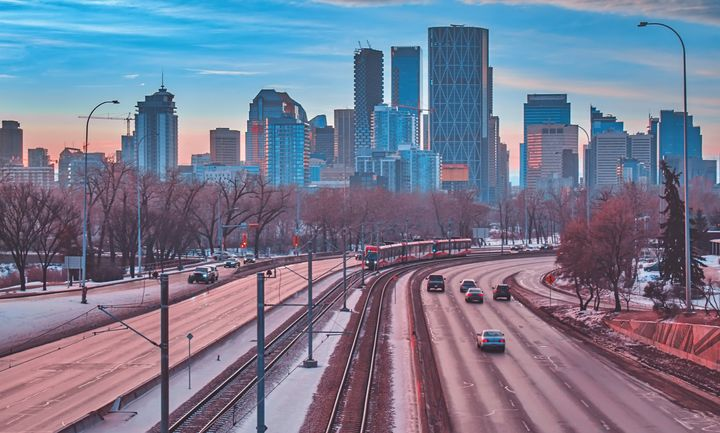In this stock photo, the Calgary skyline is seen on a winter day. Alberta's finances could come under serious pressure due to a major collapse in oil prices over the weekend.