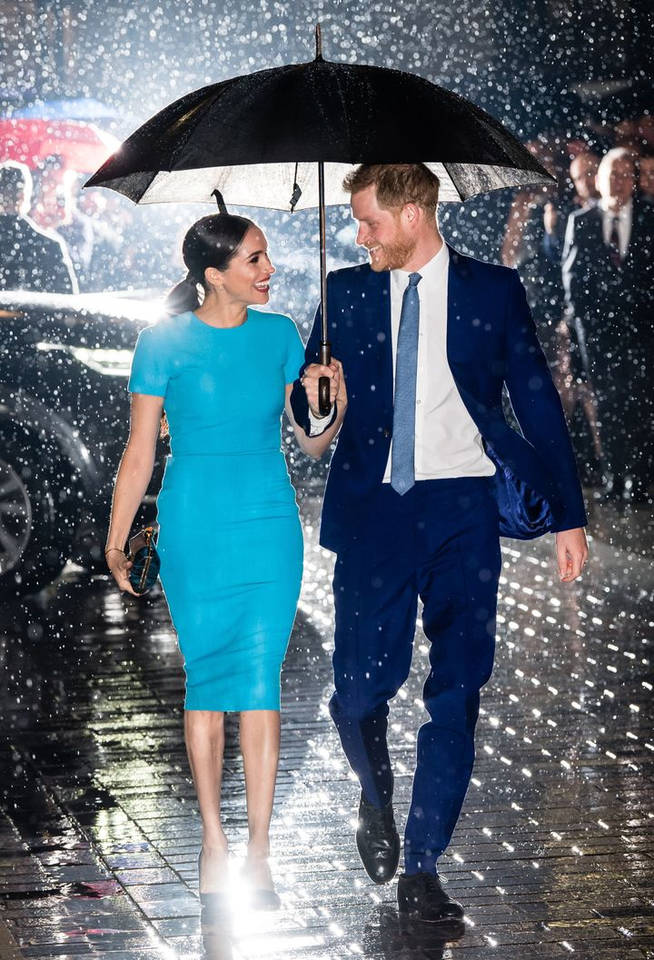The iconic shot of the Duke and Duchess of Sussex making their way to the Endeavour Fund Awards on March 5, 2020 in London.