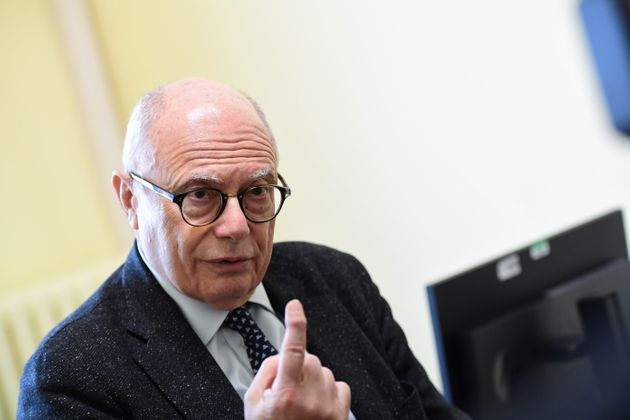 Professor Massimo Galli, primary infectologist of the hospital Luigi Sacco gives an interview in Milan...