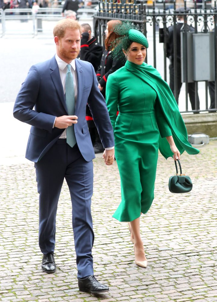 The Duke and Duchess of Sussex enter Westminster Abbey for the Commonwealth Service on Monday, March 9, 2020.