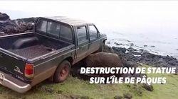 Ses freins lâchent sur l'Île de Pâques, il détruit une statue