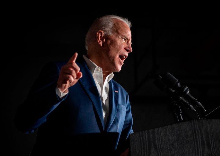 Joe Biden speaks during a rally at Tougaloo College in Mississippi on Sunday. The Democratic presidential candidate won the e