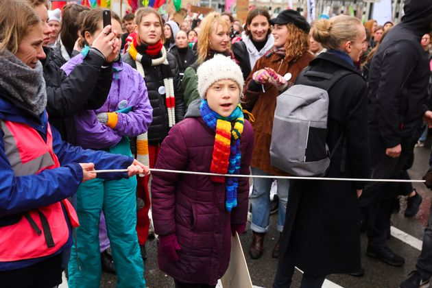 Swedish climate activist Greta Thunberg marches at a climate change protest in Brussels on March 6,