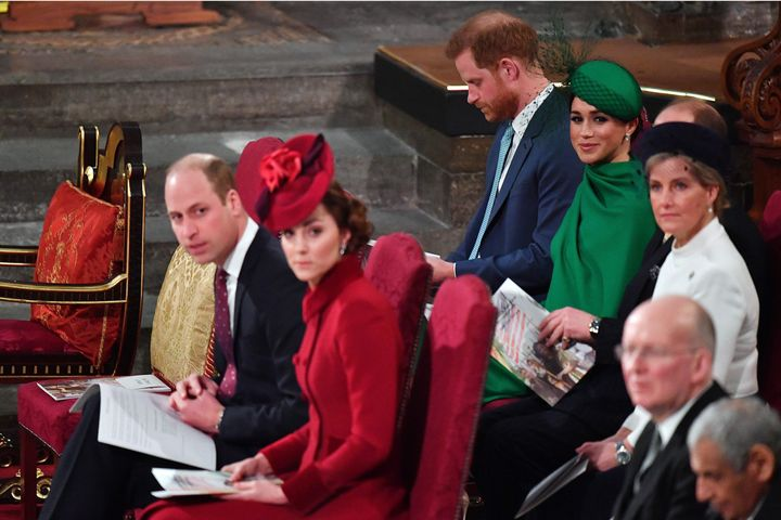 The Cambridges and Sussexes in their seats atCommonwealth Day services.
