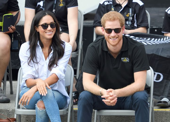 Meghan Markle and Prince Harry attend wheelchair tennis at the Invictus Games on Sept. 25, 2017, in Toronto.