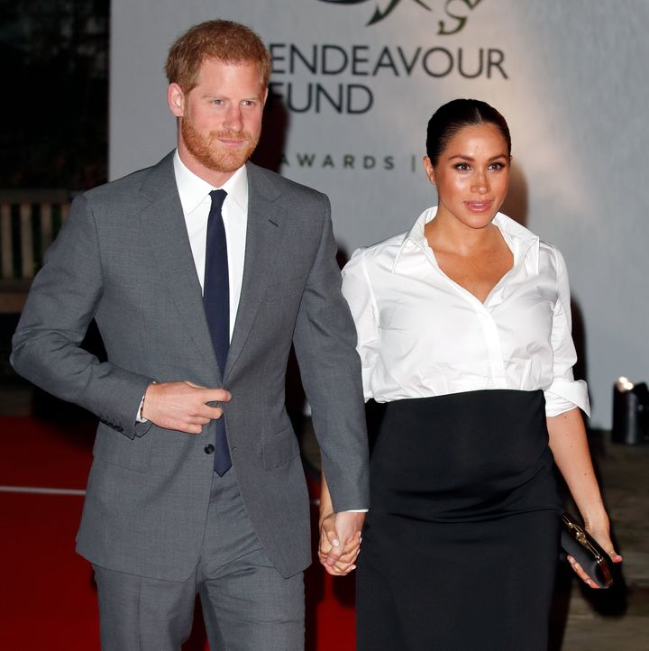 Markle wore a Givenchy-made custom maternity version of the look on Feb. 7, 2019, in London.