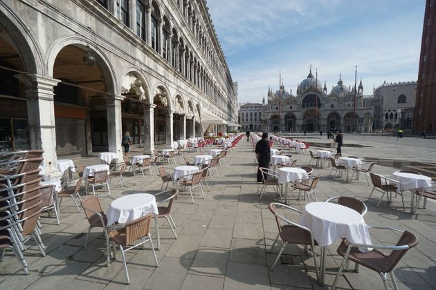 Empty streets in Venice, Italy as the city's residents are under