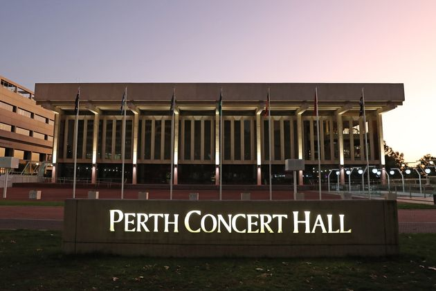 General views of the Perth Concert Hall are seen following the cancelled Russell Brand show on March...