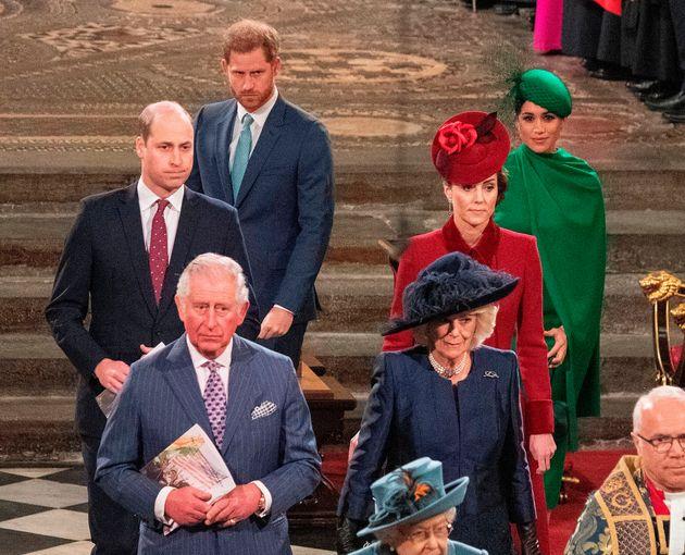 Britain's Prince William, Duke of Cambridge (L), Britain's Prince Charles, Prince of Wales (2nd L), Britain's...