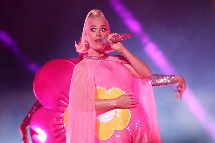 Katy Perry, pictured at a recent concert, got to deliver the news of her pregnancy to her grandmother, who died Sunday at age 99.