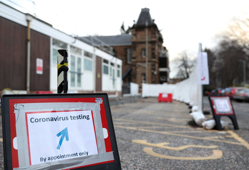 A sign for a coronavirus drive-through test centre is displayed at the Western General Hospital in