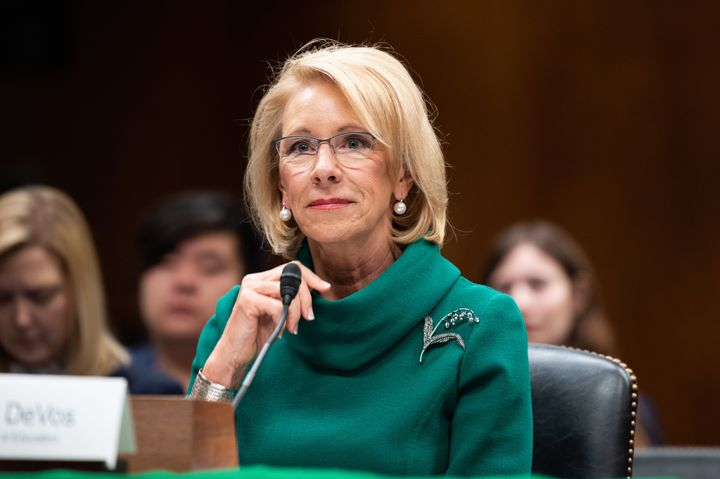 Education Secretary Betsy DeVos speaks at a hearing before the Senate Appropriations Subcommittee on Labor, Health and Human