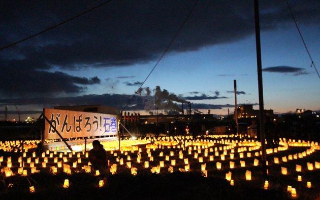 2019年の『東日本大震災追悼3.11のつどい』での夜の灯篭