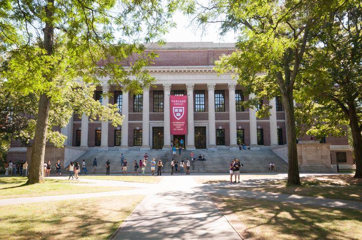 The Harvard Widener Library on Harvard's campus in Cambridge, Massachusetts.